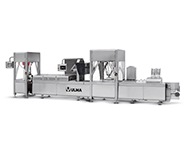 Thermoforming loading and plastic crate packing line